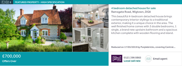 Rightmove ad example - Featured Property